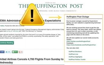Fra i danni provocati dall'uragano Sandy c'è anche il sito Huffington Post