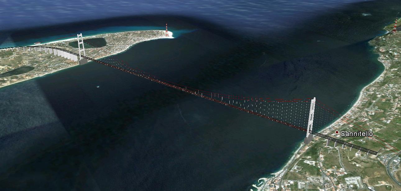 Ponte Sullo Stretto di Messina in 3d