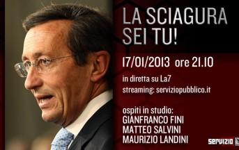 La7: Servizio Pubblico con Fini, Salvini e Landini Diretta live in tempo reale