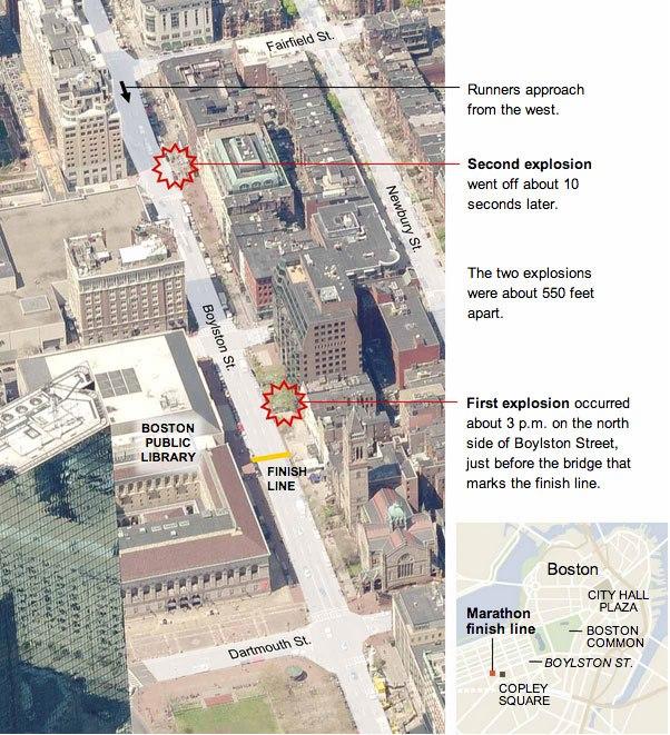 La mappa delle esplosioni nella ricostruzione del New York Times