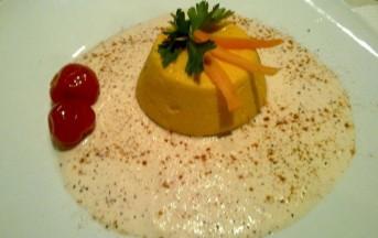 Flan di carote su crema di gamberi e paprika: foto e ricetta