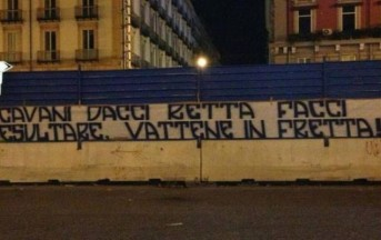 Napoli calcio: tifosi espongono striscione contro Cavani (foto)