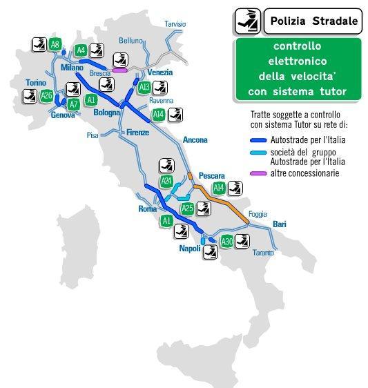 Italia Cartina Autostradale.Tutor Autostradale Funzionamento E Mappa Italiana Urbanpost