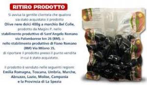 Olive nere ritirate dal commercio
