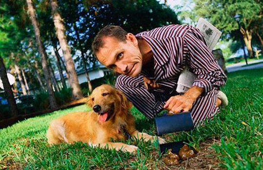 Cacca cane e padrone che ripulisce