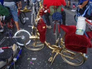 bicletta dorata e vellutata in parata