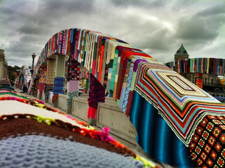 ponte yarn bombing