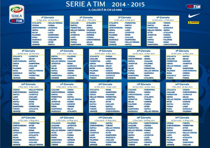 Campionato Serie A Calendario Partite.Calendario Serie A 2014 2015 Ecco Tutte Le Partite Della