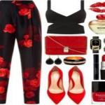 pantaloni neri fiori rossi, look da sera