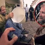 studente tedesco chiede barbone secchio, arrivano altri musicisti, suonano tutti per aiutare barbone elemosina