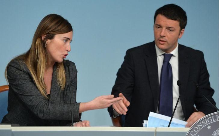 Maria Elena Boschi Matteo Renzi presenatno i Mille giorni di Governo