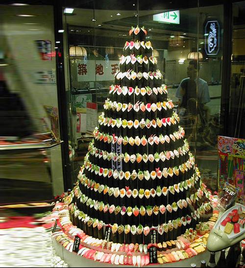 albero di natale di sushi