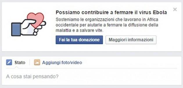 facebook donazione ebola tasto inserzione