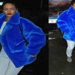 Tendenze moda 2015, il look trendy con la pelliccia colorata di Rihanna, copia