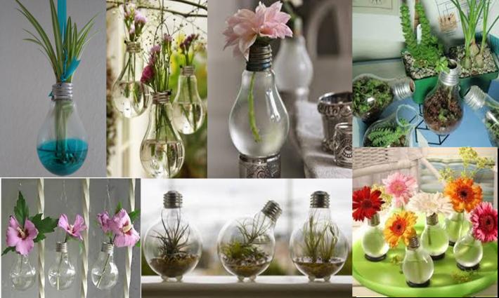 come creare fiorere con le lampadine vecchie
