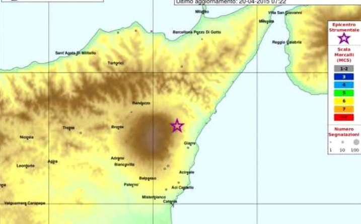 Scossa terremoto a Catania