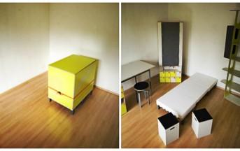 """Arredare piccoli spazi in soli sette minuti: un """"monolocale in una scatola"""""""