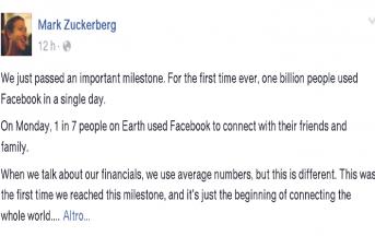 Facebook, record: un miliardo di utenti in un giorno