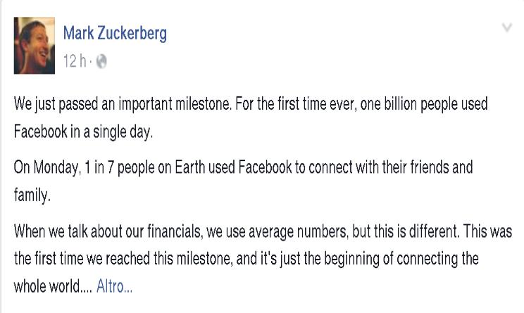 record utenti Facebook