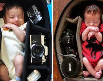 Le dolcissime foto dei bambini mentre dormono, ma in posti improbabili