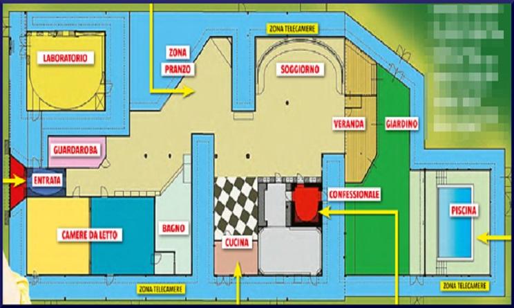 Grande fratello 14 ecco la pianta della casa urbanpost for Planimetrie della casa di gambrel