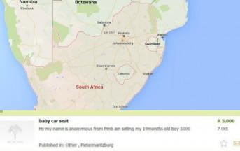 Sudafrica, madre prova a vendere il figlio su internet per 330 euro