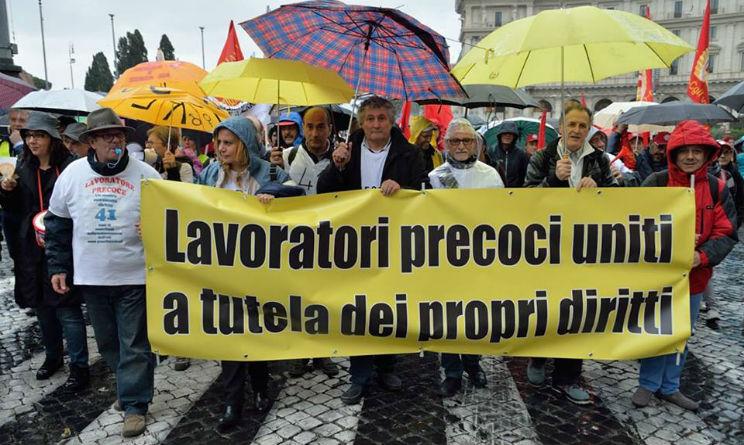 pensioni lavoratori precoci manifestazione a Roma 11 maggio