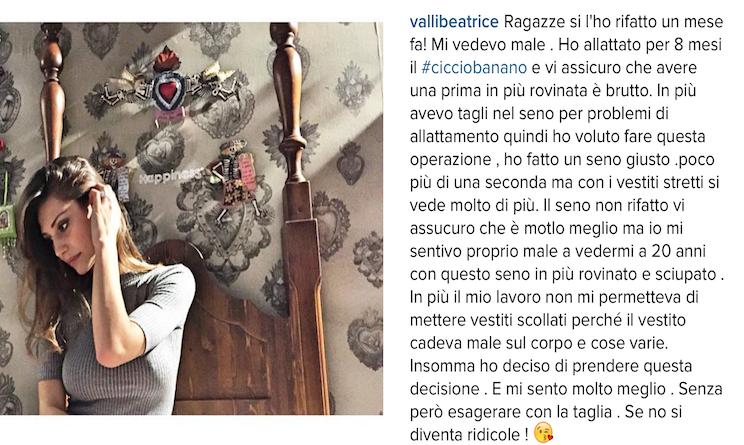 Uomini e donne, Beatrice Valli rifatta