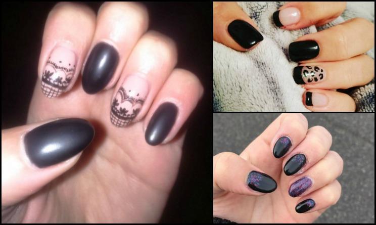 unghie nere, unghie gel, unghie a mandorla, unghie finte, unghie nere opache, unghie nere gel, unghie nere gel con brillantini, nail arte semplici e belle, nail art gel, nail art gel nero,