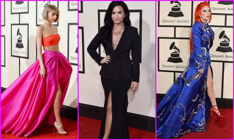 grammy 2016, grammy awards 2016, grammy 2016 outfit, grammy 2016 look, look da vip, adele outfit, lady gaga outfit, ariana grande outfit, beyonce outfit, demi lovato outfit,