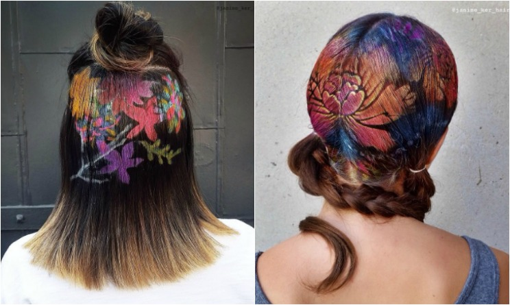 hair graffiti, hair graffiti spray, hair graffiti janine ker, tatuaggi capelli, disegni sui capelli, stencil hair,