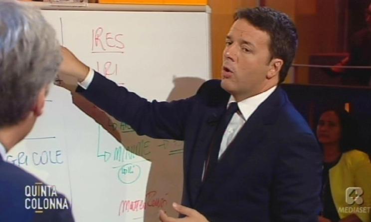 Quinta Colonna: Paolo Del Debbio intervista Matteo Renzi verso il referendum