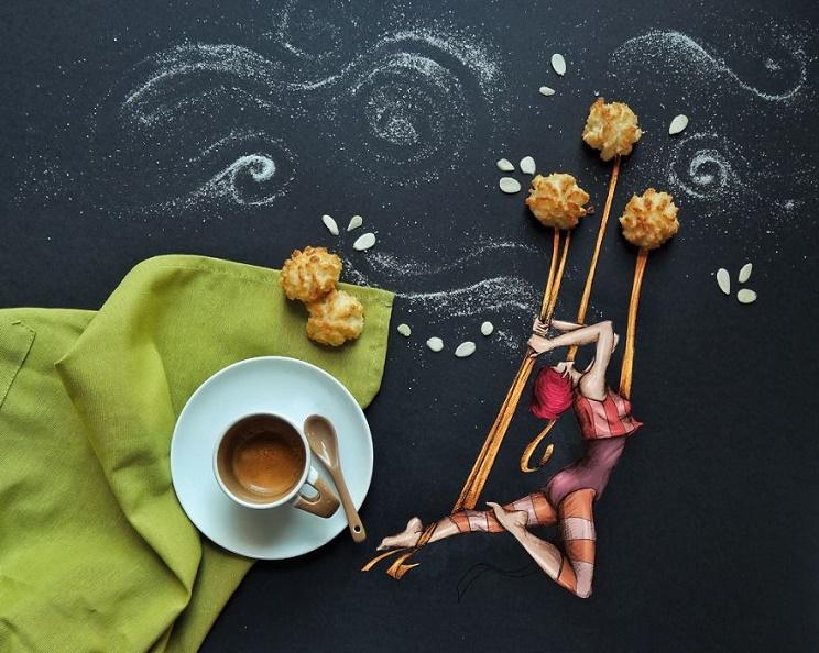 cinzia bolognesi illustratrice, opere cinzia bolognesi, opere con il cibo cinzia bolognesi, storie con il cibo,