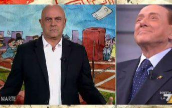 """Crozza a diMartedì, monologo su Silvio Berlusconi: """"Renzi non poteva venire e ha mandato il padre?"""" (VIDEO)"""