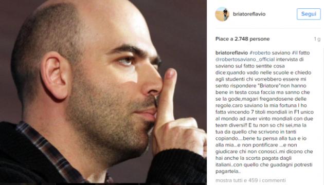 Briatore attacca Saviano sui social La scorta pagatela da solo