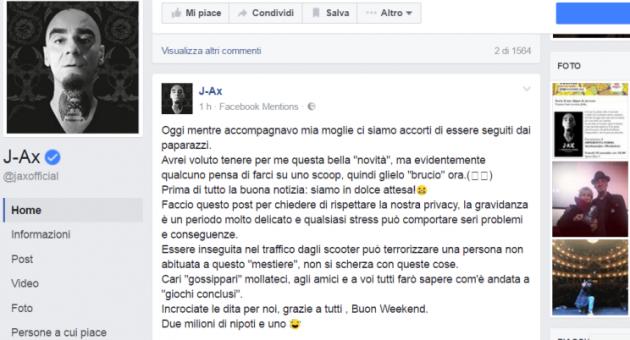 J-Ax, la moglie Elaina è incinta: il rapper diventa papà