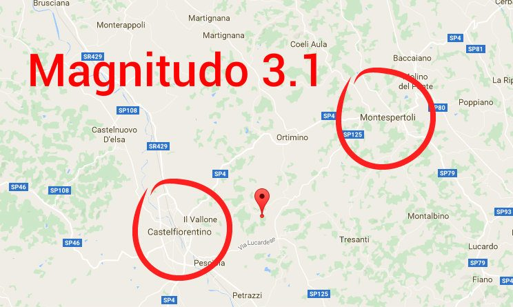 Castelfiorentino, 2 scosse di terremoto magnitudo 3.1 e 2.6