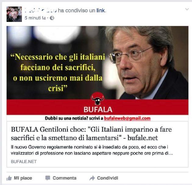 La classica smentita di una bufala riportata da bufale.net