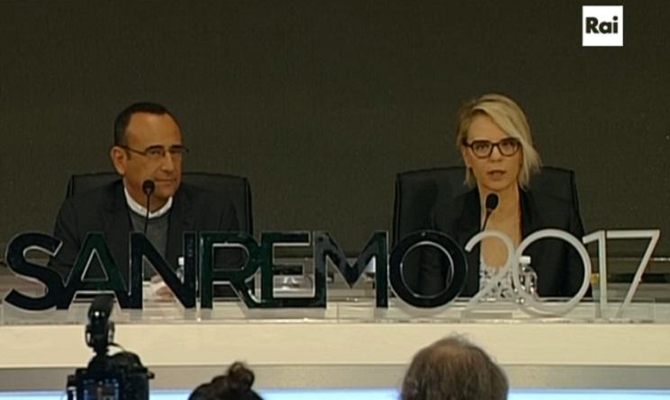 Sanremo 2017 Maria De Filippi Claudio Conti Diletta Leotta