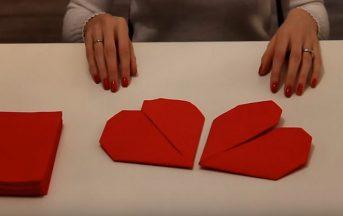 San Valentino 2017: come piegare i tovaglioli a forma di cuore [VIDEO]
