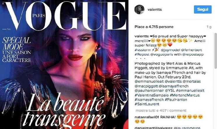 Valentina Sampaio, la prima modella transgender in copertina su Vogue Paris