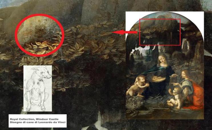 Leonardo da Vinci e il cane con guinzaglio nella vergine delle rocce
