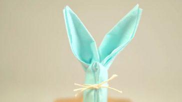come piegare i tovaglioli a forma di coniglio, come piegare i tovaglioli per pasqua, pasqua 2017, pasqua 2017 decorazioni, pasqua 2017 tovaglioli,