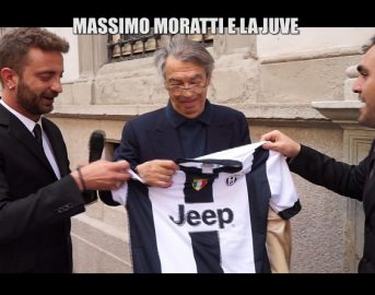 """Massimo Moratti compleanno, Le Iene regalano la maglia bianconera all'ex presidente: """"Forza Juve"""""""