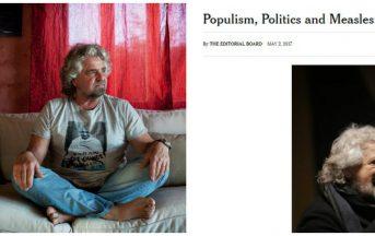 """New York Times contro Movimento 5 Stelle, Beppe Grillo: """"Vaccino per le ca**ate dei giornalisti"""""""