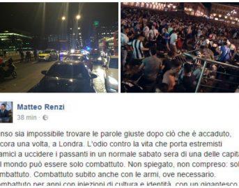 """Da Torino a Londra è una notte da paura, Renzi: """"La ricetta? Restituire fiducia"""" (FOTO)"""