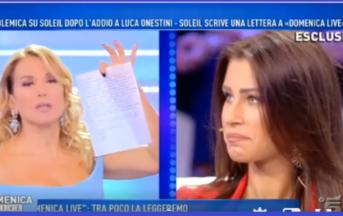 """Domenica Live, la lettera di Soleil Sorge a Barbara d'Urso: """"Avrei preferito affrontare solo con Luca tutta la questione"""" (VIDEO)"""