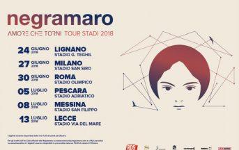 """Negramaro Tour 2018 stadi """"Amore che Torni"""" prezzo biglietti: date e info prevendita Ticketone"""