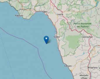 Terremoto oggi costa calabra: scossa magnitudo 3.7 a 14 km da Scalea