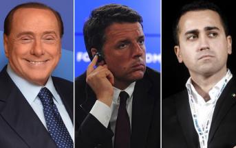 Elezioni politiche 2018 programma: Di Maio vs Renzi vs Berlusconi, la sfida dei tre moschettieri su tasse e pensioni (FOTO)